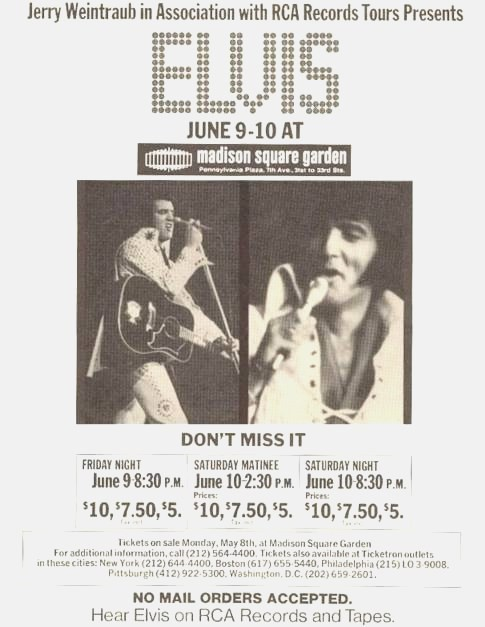 Original ad for Elvis Madison Square Garden concerts