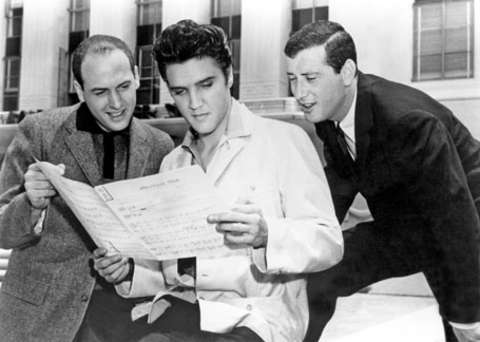 Elvis Presley with Jerry Leiber and Mike Stoller