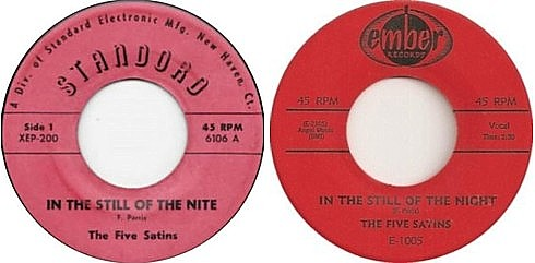 The Five Satins - In the Still of the Night singles