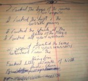 Jim Morrison's unpublished handwritten lyric/poem