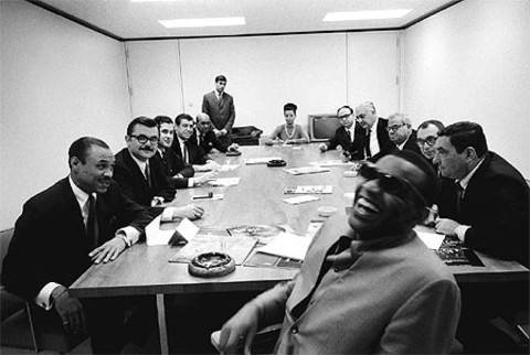 Ray Charles laughing with ABC executives